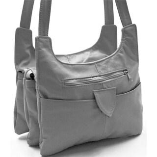 AFONiE Multi Pocket Soft Mexican Leather Hobo Handbag