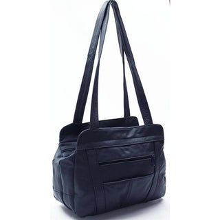 AFONiE 3 Compartment Leather Hobo Bag (Option: Navy)