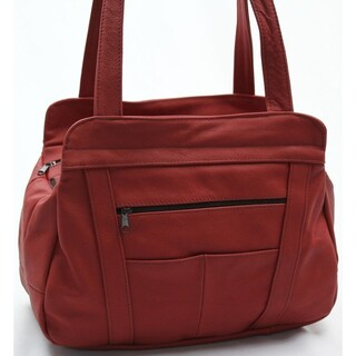 AFONiE 3 Compartment Leather Hobo Bag (Option: Red)
