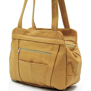 AFONiE 3 Compartment Leather Hobo Bag (Option: Tan)