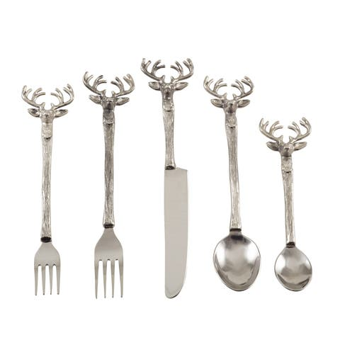 Reindeer Design Rustic Woodsy Style Flatware - Set of 5 - Silver