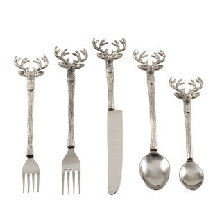 Reindeer Design Rustic Woodsy Style Flatware - Set of 5 - Silver