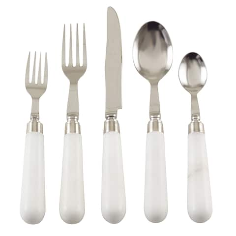 Marble Style Stone Design Stainless Steel Flatware - Set of 5 - ivory