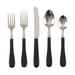 Bone Style Design Stainless Steel Flatware - Set of 5 - Black