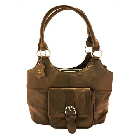 AFONiE 3 Compartments Ladies Genuine Leather Tote Bag