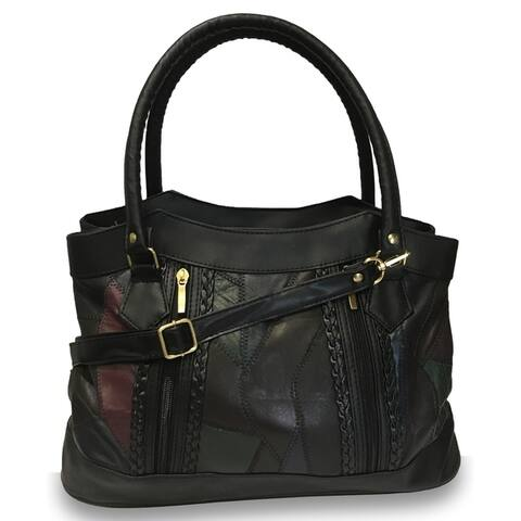 AFONiE Braided Leather Shoulder Handbag