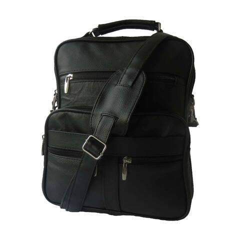 AFONiE Multi Pockets Work Leather Crossbody Handbag