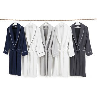 Authentic Hotel Spa Unisex Turkish Cotton Waffle Weave Terry Bath Robe Large/ XLarge Size in Navy/ White (As Is Item)|https://ak1.ostkcdn.com/images/products/18507168/P91028183.jpg?impolicy=medium