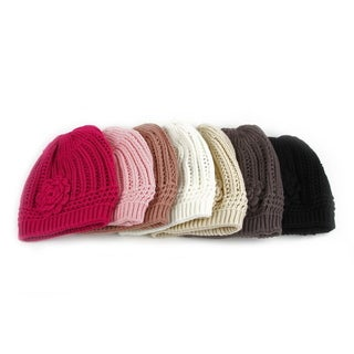 Pop Fashionwear Women's Winter Knit Flower Beanie Hat