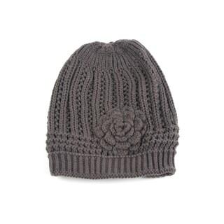Pop Fashionwear Women's Winter Knit Flower Beanie Hat