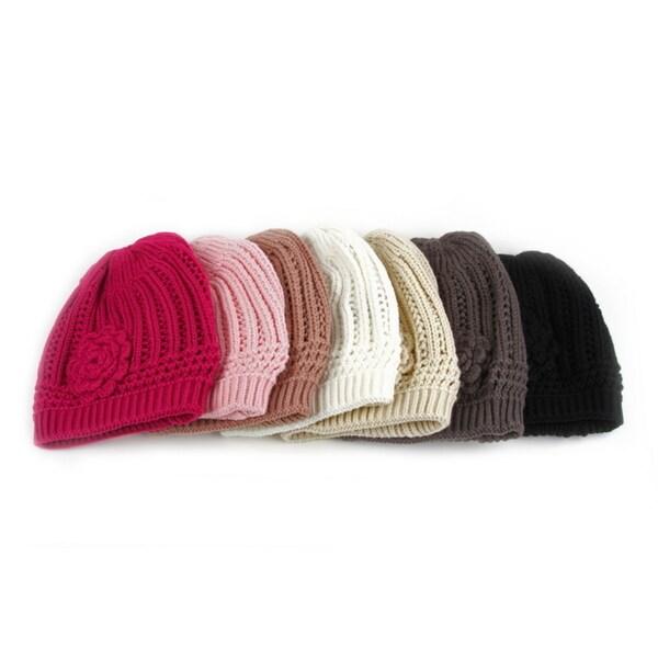 ea1aed6177c Shop Pop Fashionwear Women s Winter Knit Flower Beanie Hat - Ships ...