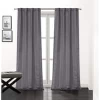 "Soho Rod Pocket Window Curtain Panels with Thermal Lining, Set of 2, 84""x76"", Charcoal"