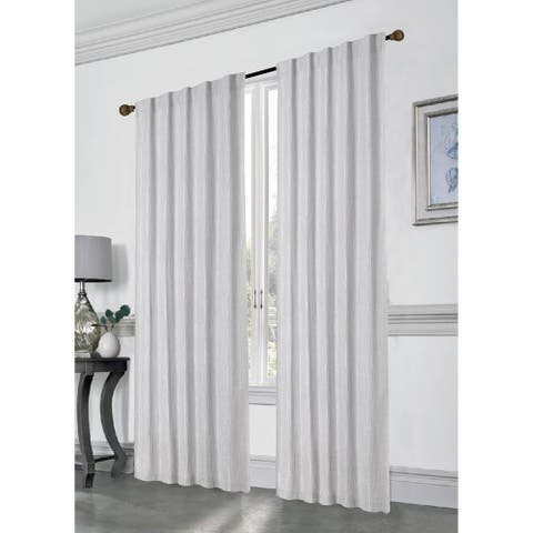 """Stacy Extra Long Rod Pocket Window Curtain Panels with Thermal Lining, Set of 2, 96""""x76"""", Silver"""