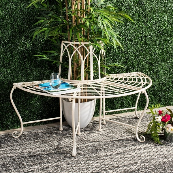 """Safavieh Outdoor Living Abia White Wrought Iron Tree Bench (50-Inches) - 50"""" x 23.5"""" x 30.8"""". Opens flyout."""