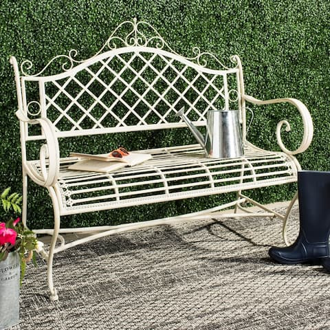 "Safavieh Outdoor Living Abner White Wrought Iron Garden Bench (45.75-Inches) - 45.8"" x 20"" x 40"""