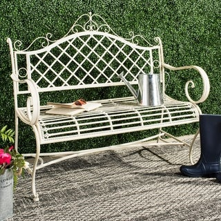 """Link to Safavieh Outdoor Living Abner White Wrought Iron Garden Bench (45.75-Inches) - 45.8"""" x 20"""" x 40"""" Similar Items in Patio Furniture"""