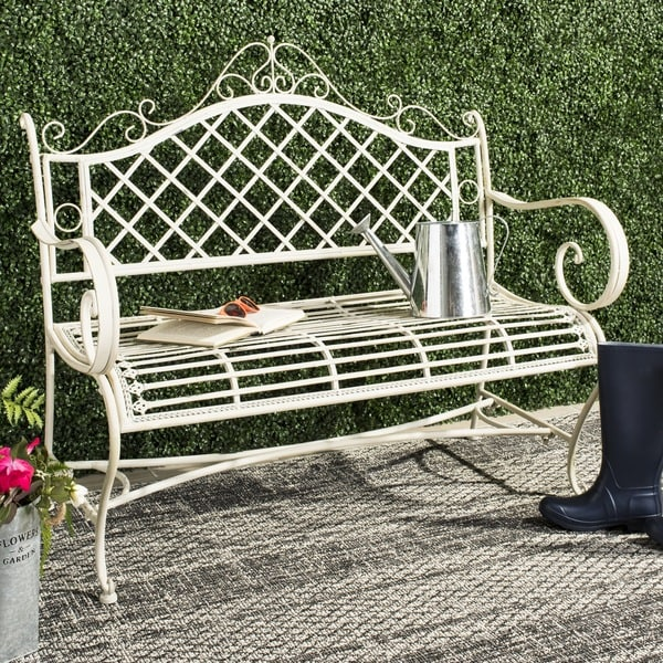Safavieh Outdoor Living Abner White Wrought Iron Garden Bench 45 75 Inches