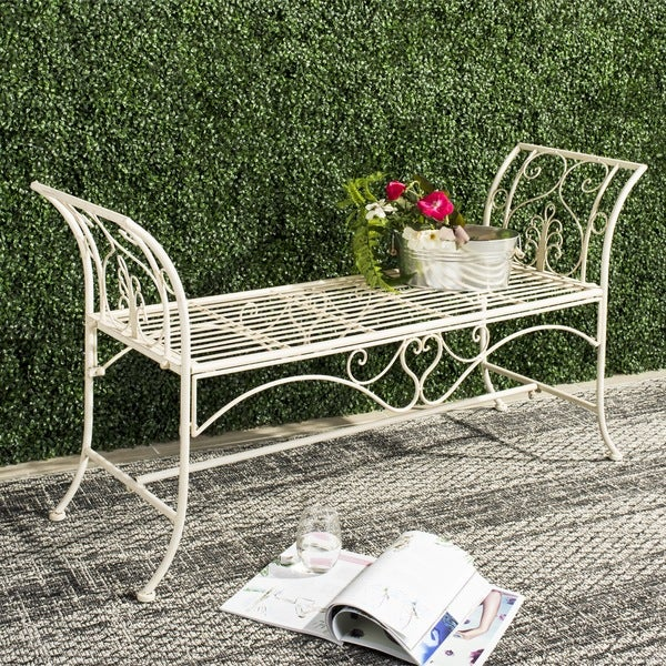 Safavieh Outdoor Living Adina White Wrought Iron Garden Bench 51 Inches