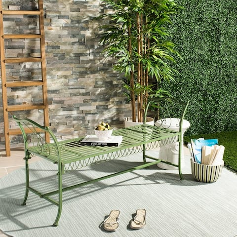 "Safavieh Outdoor Living Arona Green Wrought Iron Garden Bench (51-Inches) - 51"" x 17"" x 25.3"""