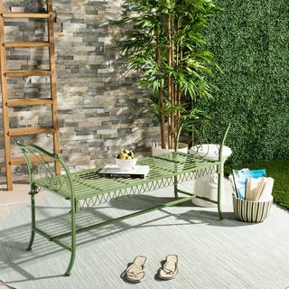 """Link to Safavieh Outdoor Living Arona Green Wrought Iron Garden Bench (51-Inches) - 51"""" x 17"""" x 25.3"""" Similar Items in Patio Furniture"""