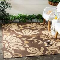 Safavieh Indoor/ Outdoor Courtyard Light Chocolate/ Cream Rug - 2'7 x 5'