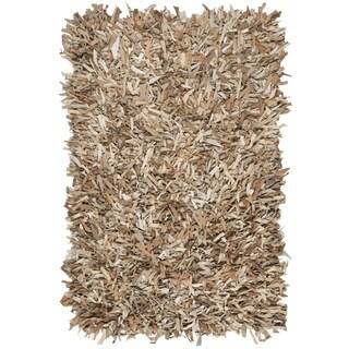 Safavieh Hand-Knotted Leather Shag Beige Leather Rug (3' x 5')