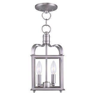 Livex Lighting Milford 2 Light Brushed Nickel Convertible Chain Hang/Ceiling Mount