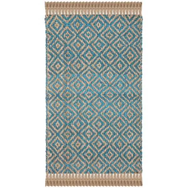 Shop Safavieh Hand Woven Natural Fiber Turquoise Natural