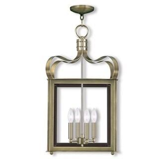 Livex Lighting Garfield 4 Light Antique Brass Chain Lantern