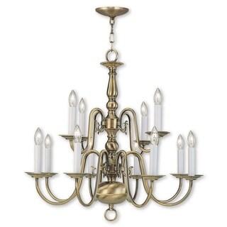 Livex Lighting Williamsburgh 12 Light Antique Brass Chandelier