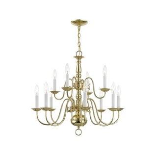 Livex Lighting Williamsburgh 12 Light Polished Brass Chandelier