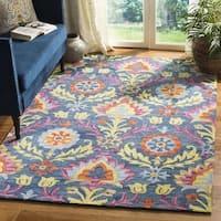 Safavieh Hand-Hooked Suzani Blue/ Multi Wool Rug - 3' x 5'