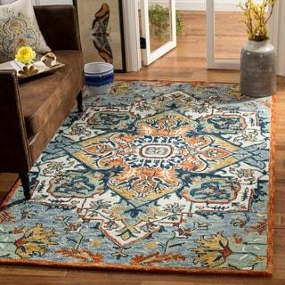 Safavieh Handmade Aspen Blue/ Rust Wool Rug (5' x 8')