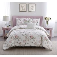 Floral Garden Cotton Comforter Set in Pink