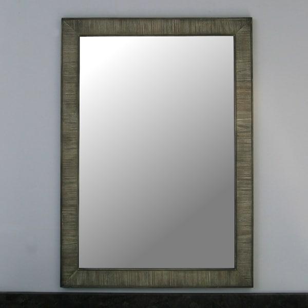 26 Rustic Solid Fir Mirror In Grey W X 36 H