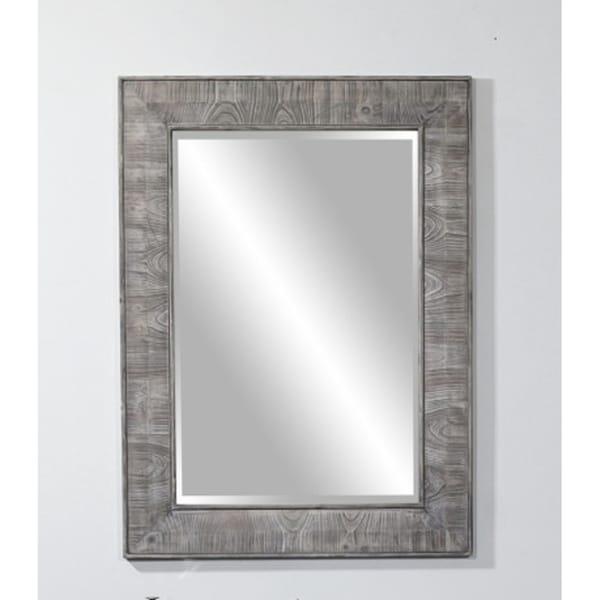 """26"""" Rustic solid fir mirror in grey (26"""" W x 36"""" H)"""