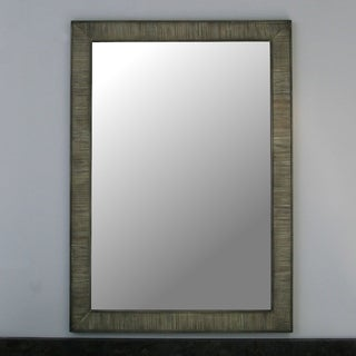 Infurniture Grey Wood-framed 26-inch Wall Mirror