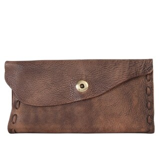 Diophy Fashion Snap Closure Genuine Leather Asymmetrical Wallet