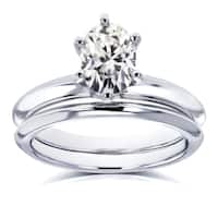 Annello by Kobelli 14k White Gold 7/8 Carat Oval Moissanite 6-prong Solitaire Bridal Set