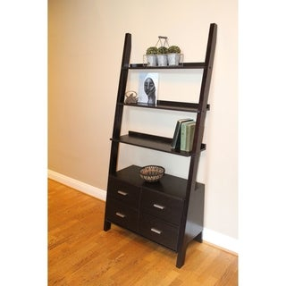 Brown Walnut-finished Wood Leaning Ladder Bookshelf With Drawers