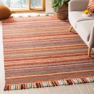 Safavieh Hand-Woven Montauk Rust/ Multi Cotton Rug (5' x 8')