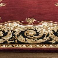 Safavieh Handmade Naples Maroon/ Beige Wool Rug - 5' x 8'