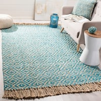 Safavieh Hand-Woven Natural Fiber Turquoise/ Natural Jute Rug - 5' x 8'
