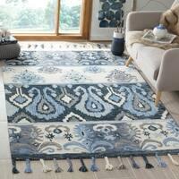 Safavieh Hand-Hooked Suzani Blue/ Ivory Wool Rug (5' x 8')