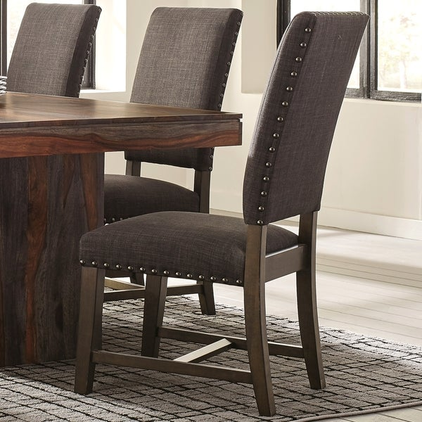 Casual Grey Fabric And Black Finished Wood Upholstered Parsons Dining/Accent  Chairs With Nailhead