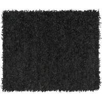 Safavieh Hand-Knotted Leather Shag Black Leather Rug - 8' x 10'