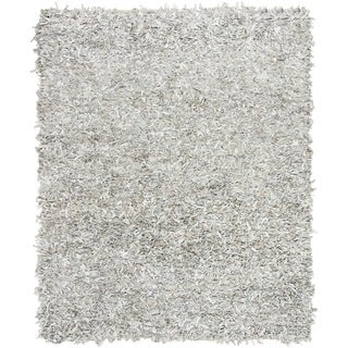 Safavieh Hand-Knotted Leather Shag Grey/ White Leather Rug (8' x 10')