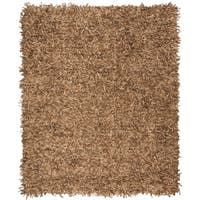 Safavieh Hand-Knotted Leather Shag Light Gold Leather Rug - 8' x 10'