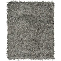 Safavieh Hand-Knotted Leather Shag Grey/ Beige Leather Rug (8' x 10')