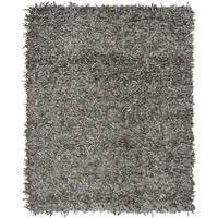 Safavieh Hand-Knotted Leather Shag Grey/ Beige Leather Rug - 8' x 10'